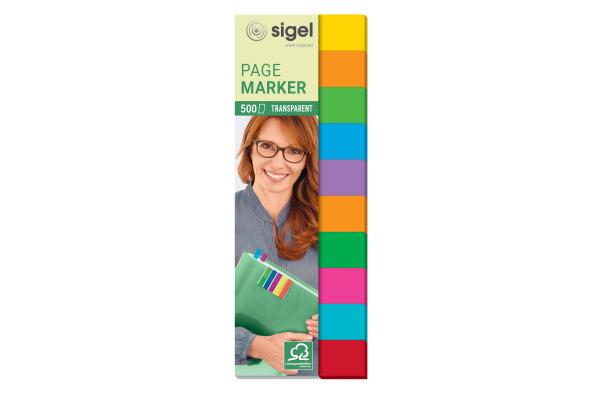 SIGEL Haftmarker Film Multicolor HN684 10 Farben,44x12,5mm,500 BL