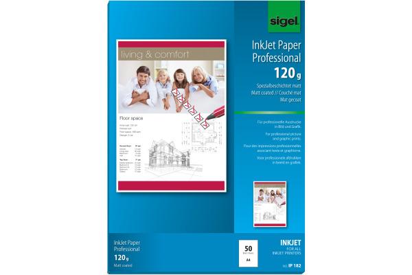 SIGEL InkJet-Papier A4 IP182 120g,matt, weiss 50 Blatt