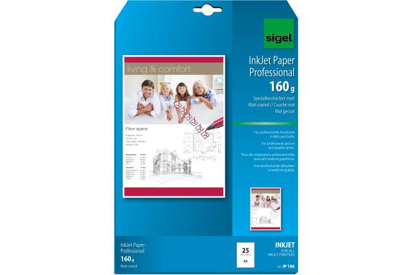 SIGEL InkJet-Papier A4 IP186 160g,matt, weiss 25 Blatt