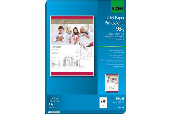 SIGEL InkJet Fotopapier A4 IP288 95g,matt, weiss 200 Blatt