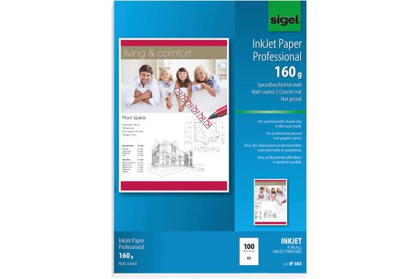 SIGEL InkJet-Papier A3 IP383 160g,matt, weiss 100 Blatt