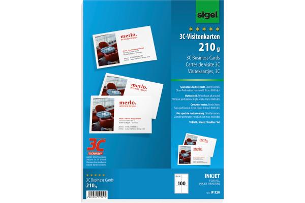 Sigel Visitenkarten 85x55mm Ip520 Weiss 210g 100 Stück