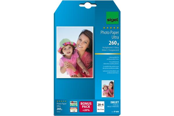 SIGEL InkJet Fotopapier 10x15cm IP606 260g,glossy, weiss 24 Blatt