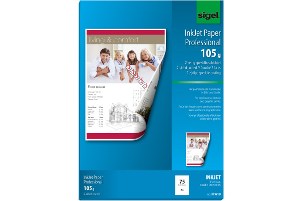 SIGEL InkJet-Papier A4 IP619 105g,matt, weiss 75 Blatt