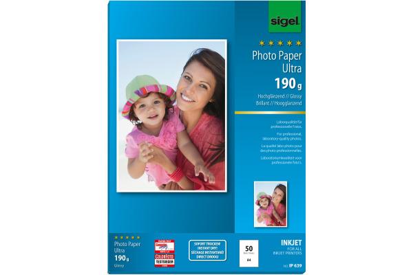 SIGEL InkJet Fotopapier A4 IP639 190g,glossy, weiss 50 Blatt