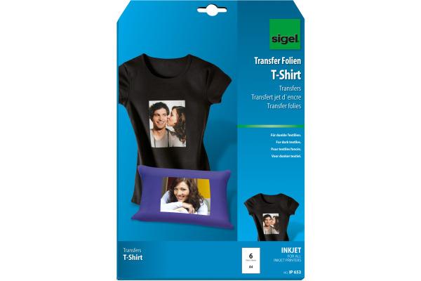 SIGEL Inkjet-Transfer T-Shirt A4 IP653 Textilien 6 Blatt