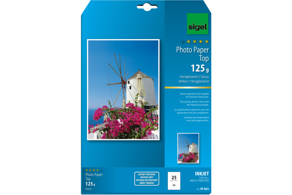 SIGEL InkJet Fotopapier A4 IP663 125g,glossy, weiss 25 Blatt