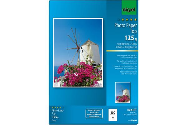 SIGEL InkJet Fotopapier A4 IP664 125g,glossy, weiss 100 Blatt