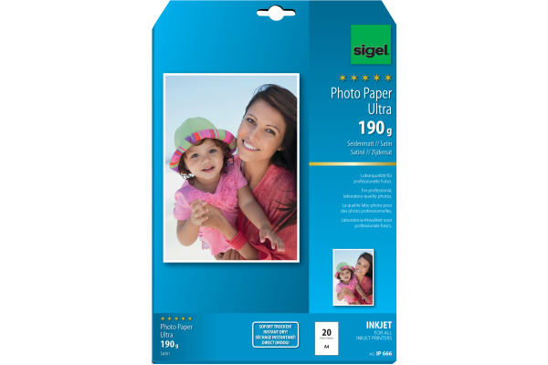 SIGEL InkJet Photo Paper Ultra A4 IP666 190g Seidenmatt 20 Blatt