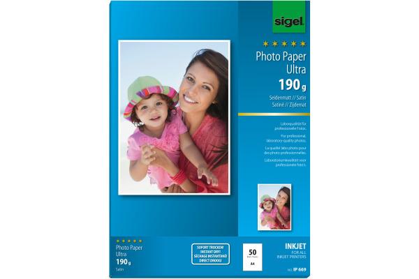 SIGEL InkJet Fotopapier A4 IP669 190g,matt, weiss 50 Blatt