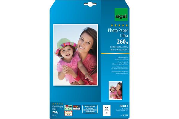 SIGEL InkJet Fotopapier A4 IP677 260g,glossy, weiss 20 Blatt