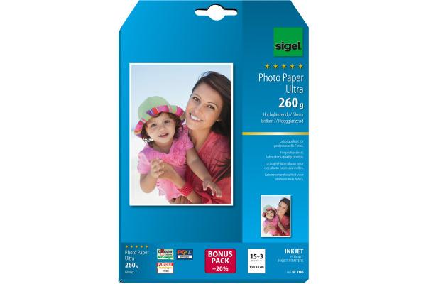 SIGEL InkJet Fotopapier 13x18cm IP706 260g,glossy, weiss 18 Blatt