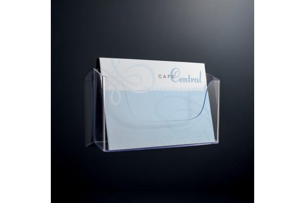 SIGEL Wand-Prospekthalter A4 LH118 glasklar,330x172x55mm