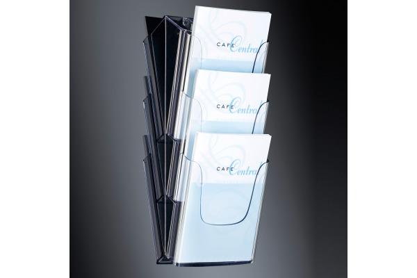 SIGEL Wand-Prospekthalter 3xA4 LH135 235x545x115mm acryl
