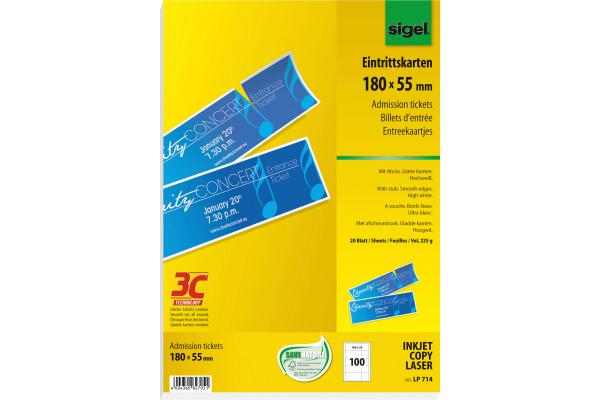 SIGEL Eintrittskarten, Abriss weiss LP714 3C,225g,180x55mm,100ST=20BL