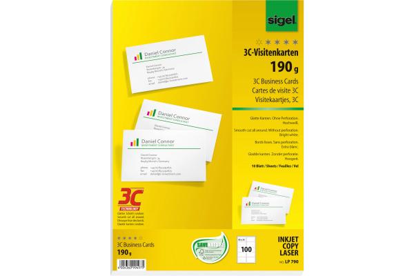 SIGEL Visitenkarten 85x55mm LP790 weiss, 190g 100...