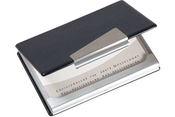 Sigel Visitenkarten Etui 62x95mm Vz131 Silberer Schwarz 20 Karten