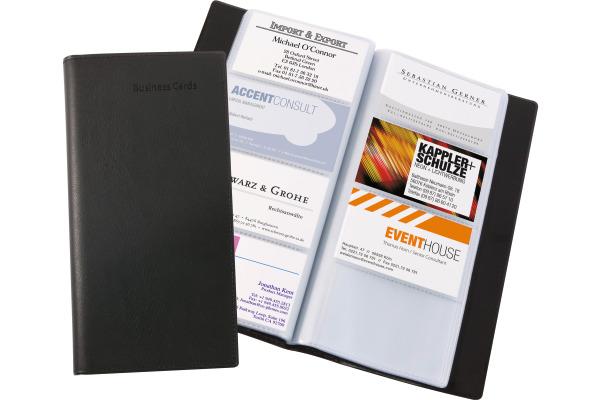 SIGEL Visitenkarten-Mappe,Lederop. VZ172 schwarz,matt,192 ST.