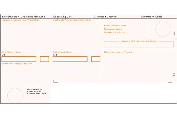 SIMFACT Einzahlungsschein ESR 38313 orange,90gm2,gerahmt A4/500Bl.