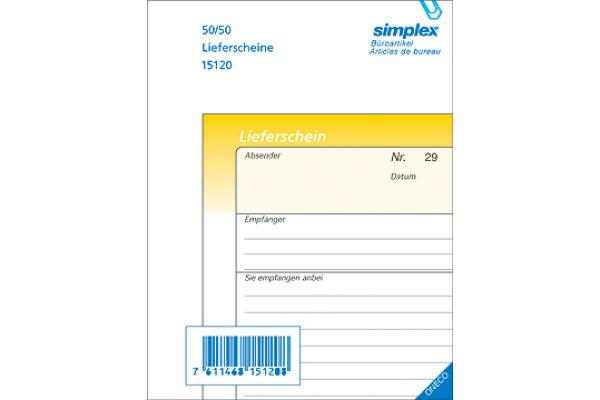 SIMPLEX Lieferscheine D A6 15120D gelb/weiss 50x2 Blatt