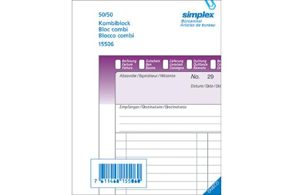 SIMPLEX Kombiblock D/F/I A5 15508 weiss 50x3 Blatt