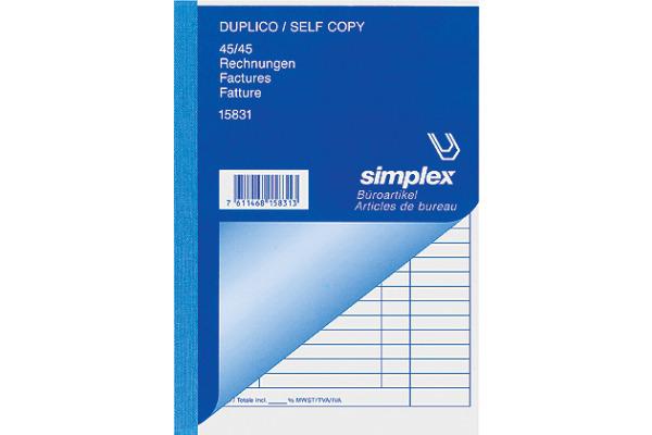 SIMPLEX Rechnungen D F I A6 15830 weiss gelb 45x2 Blatt