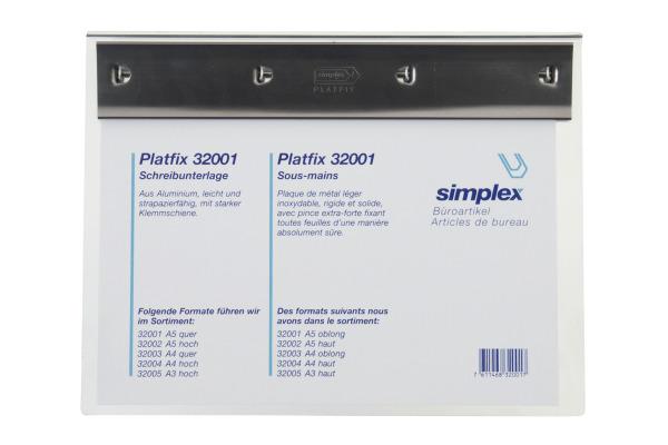 SIMPLEX Schreibplatte Platfix A5 32001 chrom