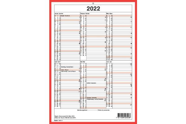 SIMPLEX Wandkalender 2022 4032040.22 A4,rot weiss