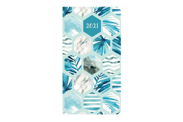 SIMPLEX Ladytimer Taschenplaner 2021 40531.21 87x153mm, Blue Pattern 1W/2S