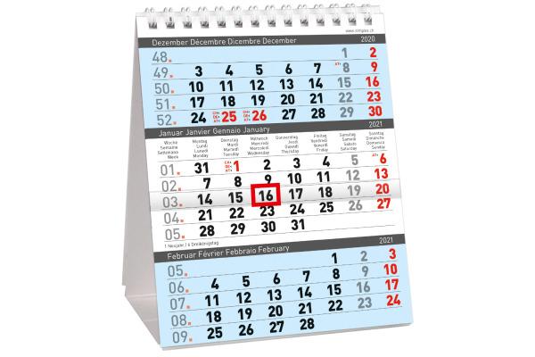 SIMPLEX 3-Monats-Tischkalender 2021 61102.21 125x155mm,3M/1S