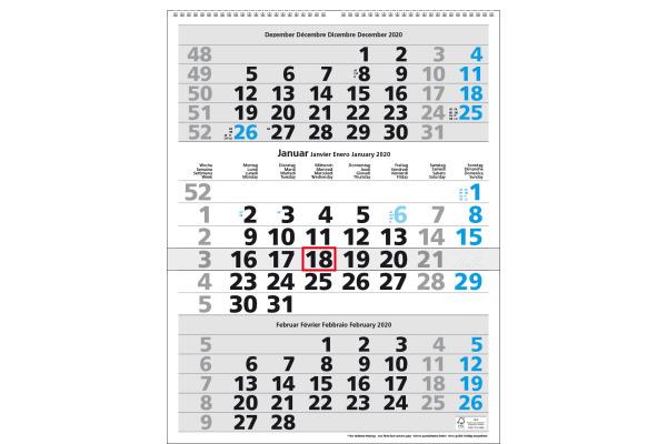SIMPLEX 3-Monats-Wandkalender 2020 970006.2 300x390mm,blau