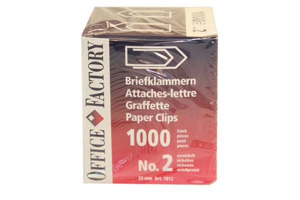 SMART OF. Büroklammern Gr.2 1012 vernickelt, 23mm 1000 Stk.
