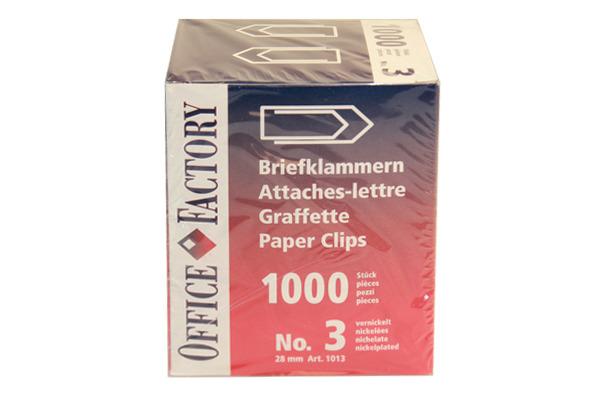 SMART OF. Büroklammern Gr.3 1013 vernickelt, 28mm 1000 Stk.