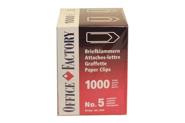 SMART OF. Büroklammern Gr.5 1015 vernickelt, 43mm 1000 Stk.