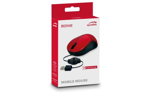 SPEEDLINK Beenie Mobile Mouse SL-610012-RD USB, wired, red