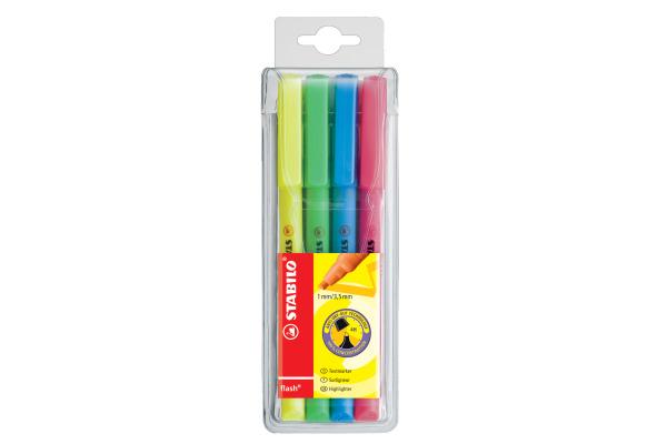 STABILO Textmarker Flash 1-3,5mm 555 4 4 Farben assortiert