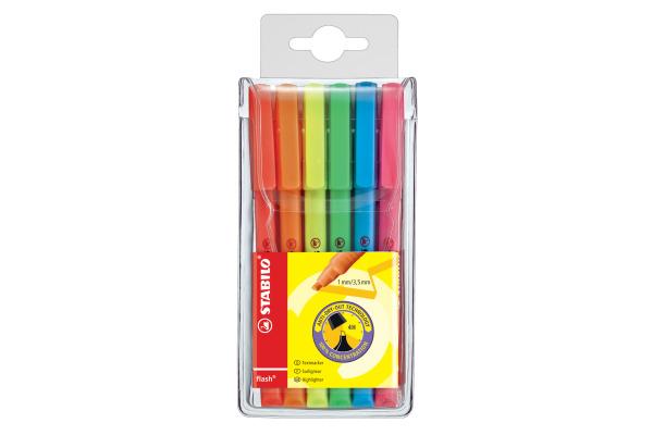 STABILO Textmarker FLASH 1 3,5mm 555 6 6 Farben assortiert