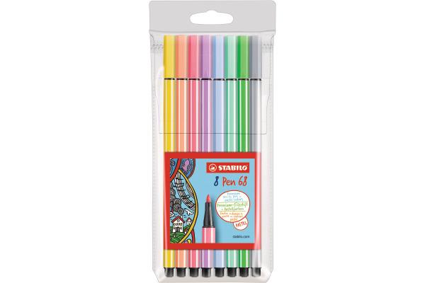 STABILO Fasermaler Pen 68 68 801 Etui, 8 Pastell