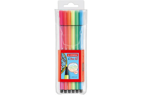 STABILO Fasermaler Pen 68 1mm 6806-1 6 Farben neon