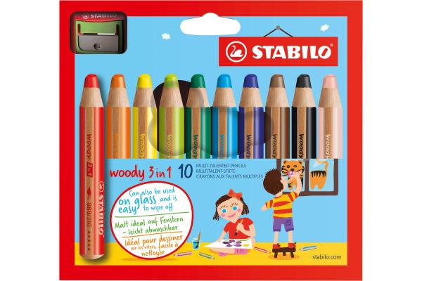 STABILO Farbstifte Woody 3 in 1 880/10-2 10 Farben Etui, Spitzer