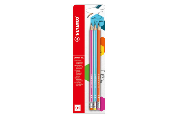 STABILO Bleistift 160 mit Gummi HB B-50500-10 assortiert...