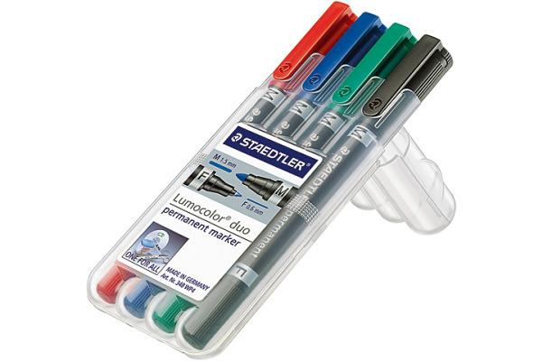 STAEDTLER Lumocolor Duo F M 348WP4 4 Farben assortiert
