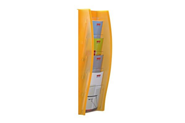 STYRO Wandprospekhalter A4 128-340.0 orange 4 Fächer