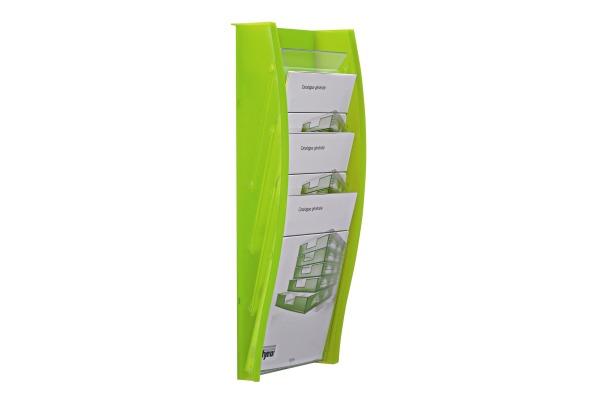 STYRO Wandprospekhalter A4 128-340.0 kiwi 4 Fächer