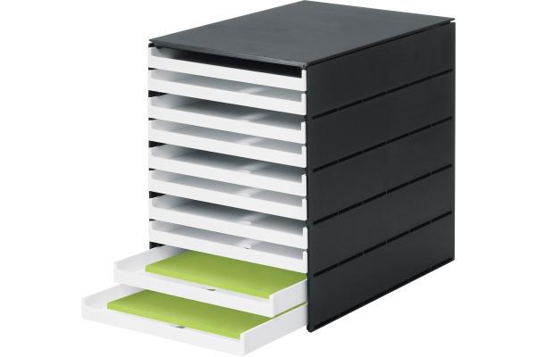 STYRO Schubladenbox PRO schwarz 14-800292 10 Fächer