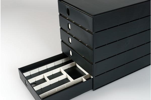 STYRO Schubladenbox schwarz 16-800090 5 Fächer