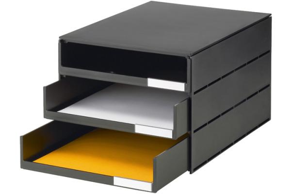 STYRO Schubladenbox schwarz 16-805190 3 Fächer
