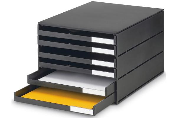 STYRO Schubladenbox schwarz 16-805290 6 Fächer
