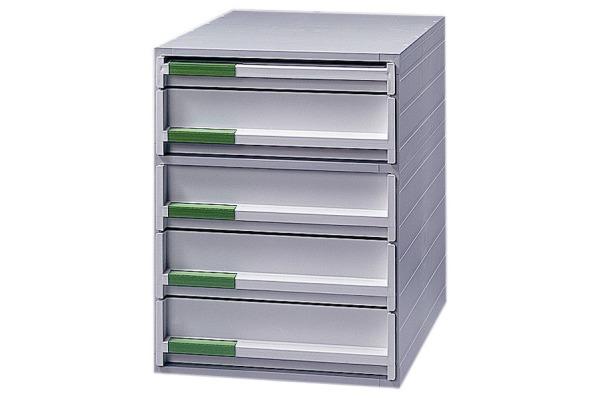 STYRO Schubladenbox grau 21109380 5 Fächer,...