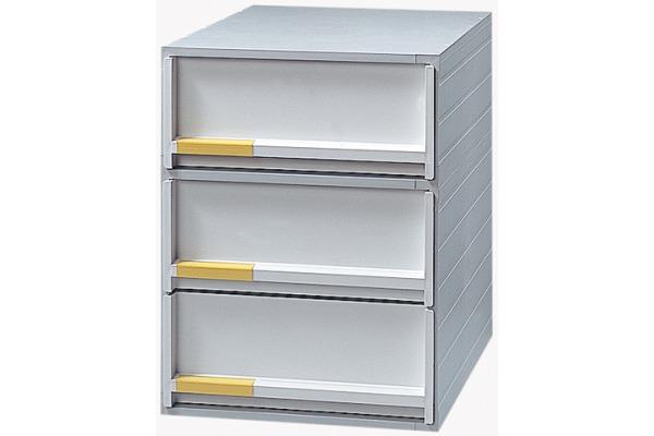 STYRO Schubladenbox grau 21109680 3 Fächer,...
